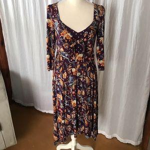 Anthropologie Plum Floral Dress